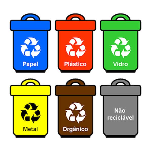 Imagem com as cores da reciclagem